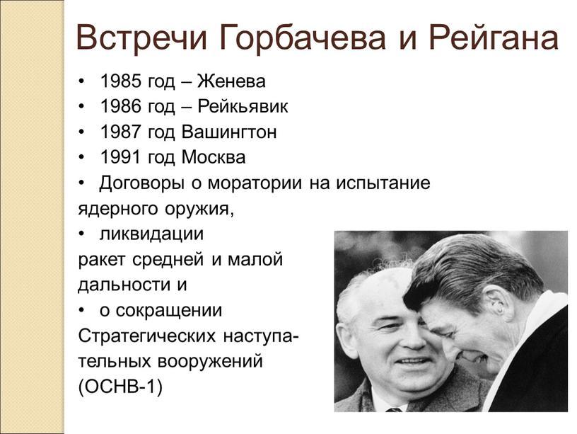 Встречи Горбачева и Рейгана 1985 год –