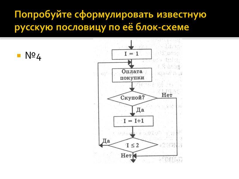 Попробуйте сформулировать известную русскую пословицу по её блок-схеме №4