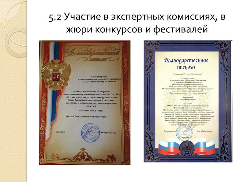 Участие в экспертных комиссиях, в жюри конкурсов и фестивалей