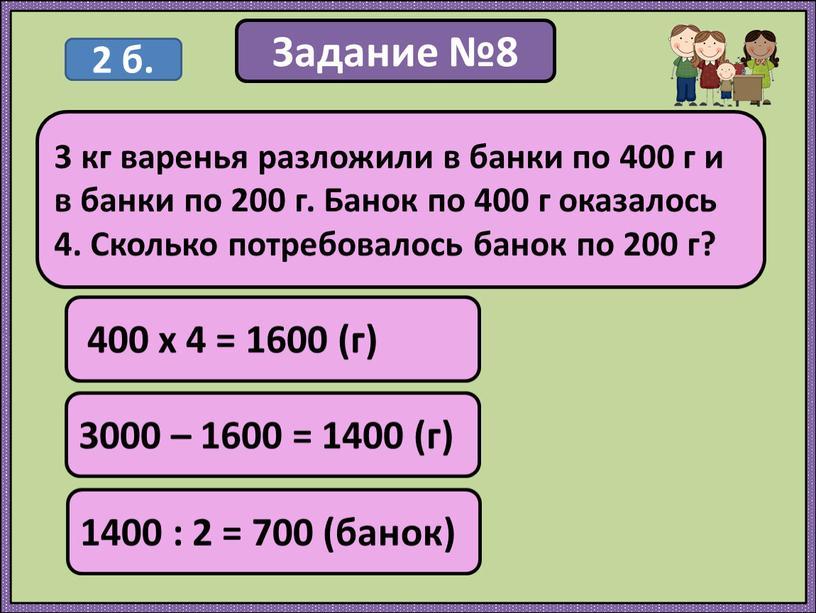 Задание №8 400 х 4 = 1600 (г) 3 кг варенья разложили в банки по 400 г и в банки по 200 г