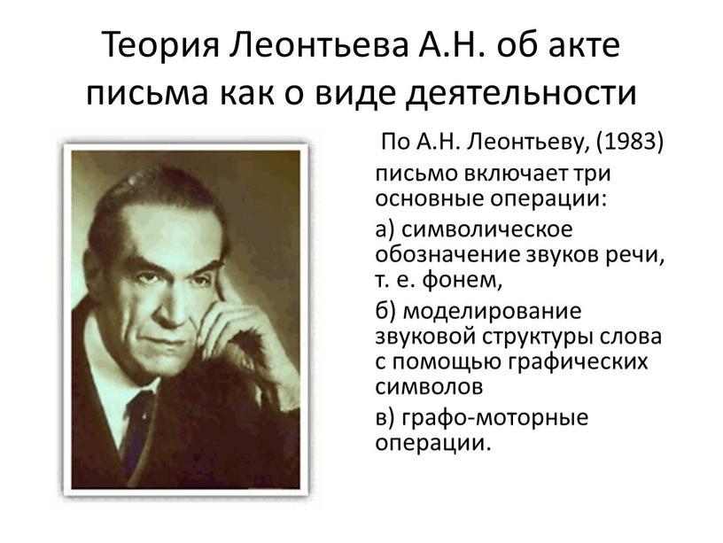 Теория Леонтьева А.Н. об акте письма как о виде деятельности