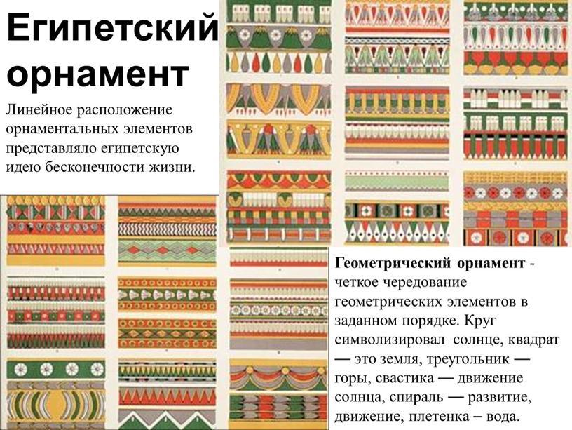 Египетский орнамент Линейное расположение орнаментальных элементов представляло египетскую идею бесконечности жизни
