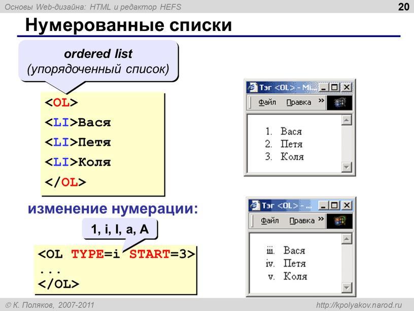 Нумерованные списки Вася Петя