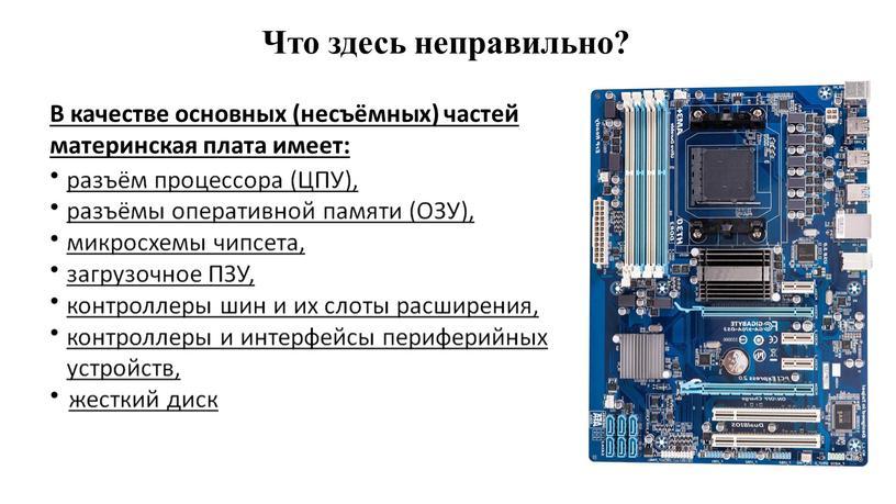 В качестве основных (несъёмных) частей материнская плата имеет: разъём процессора (ЦПУ), разъёмы оперативной памяти (ОЗУ), микросхемы чипсета, загрузочное
