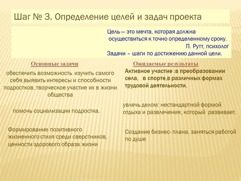 Шаг № 3. Определение целей и задач проекта