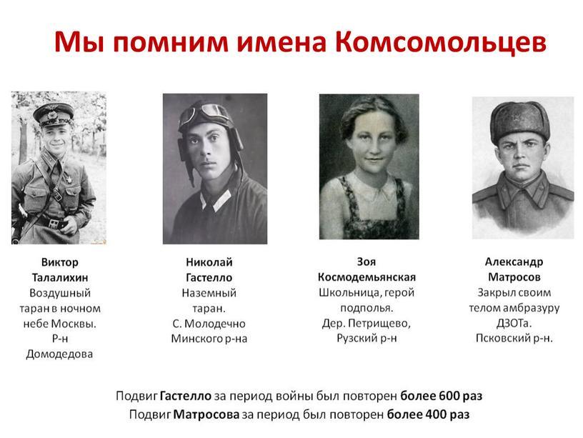Мы помним имена Комсомольцев
