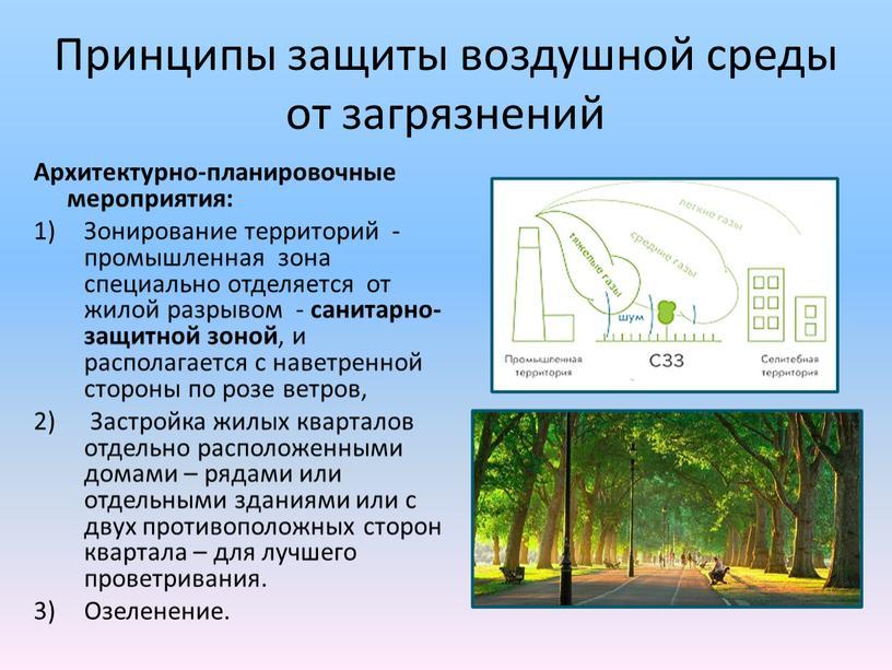 Принципы защиты воздушной среды от загрязнений
