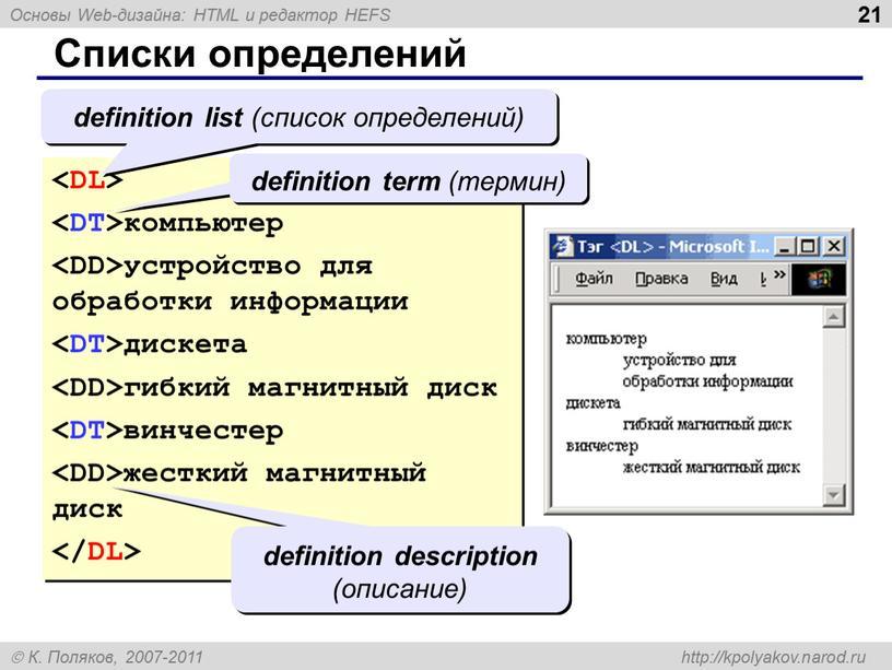 Списки определений компьютер устройство для обработки информации дискета гибкий магнитный диск винчестер жесткий магнитный диск definition list (список определений) definition term (термин) definition description (описание)