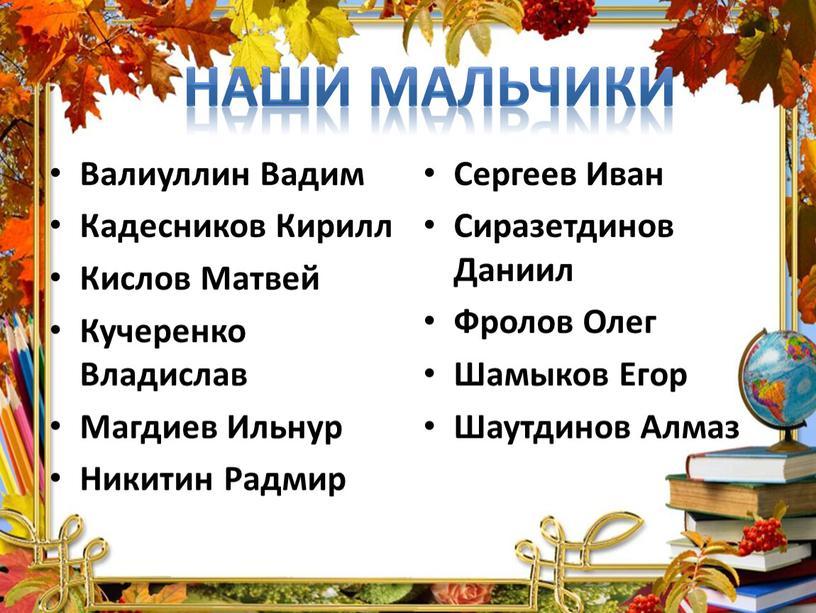 Валиуллин Вадим Кадесников Кирилл