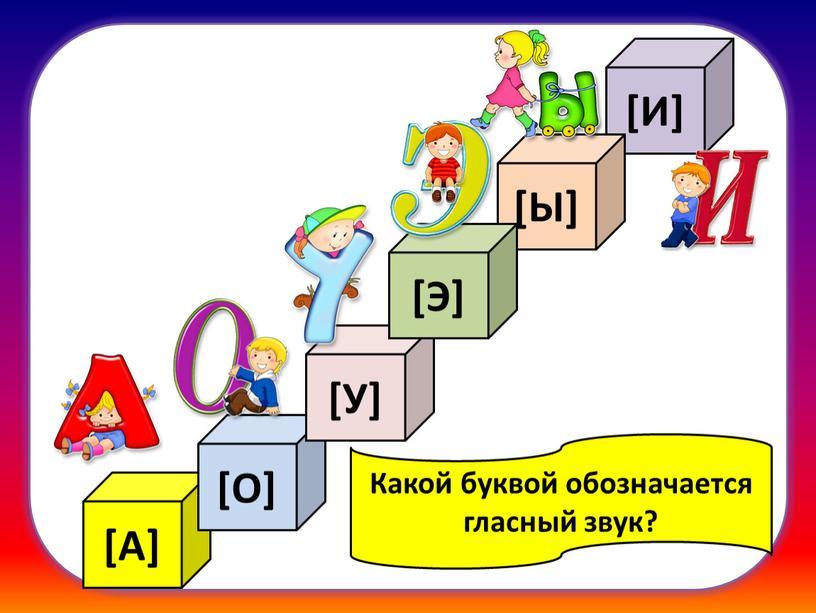 А] [О] [У] [И] [Ы] [Э] Какой буквой обозначается гласный звук?