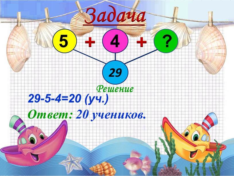 Задача 29 + + Решение 29-5-4=20 (уч