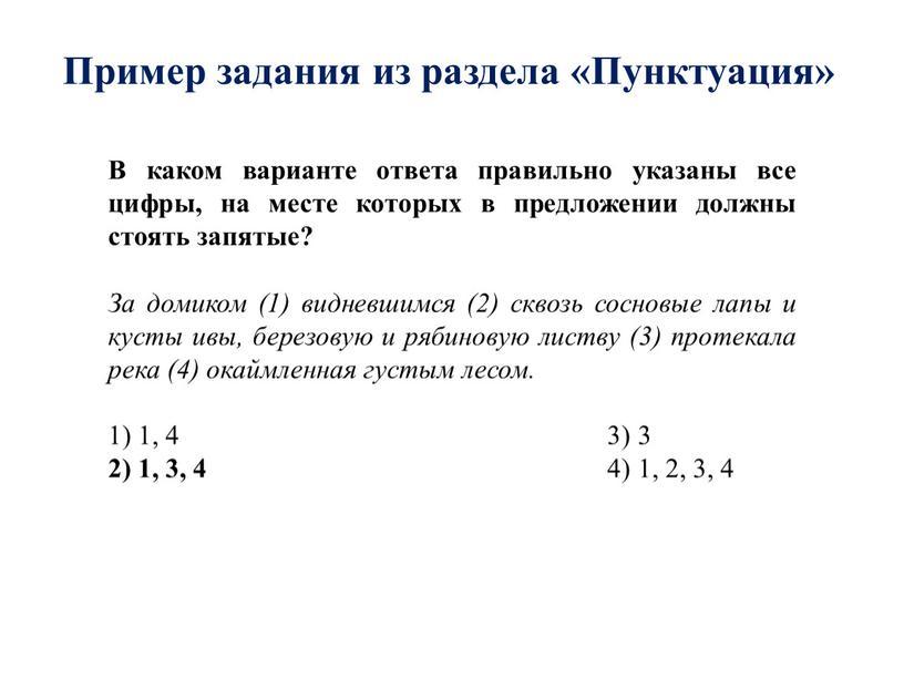 Пример задания из раздела «Пунктуация»