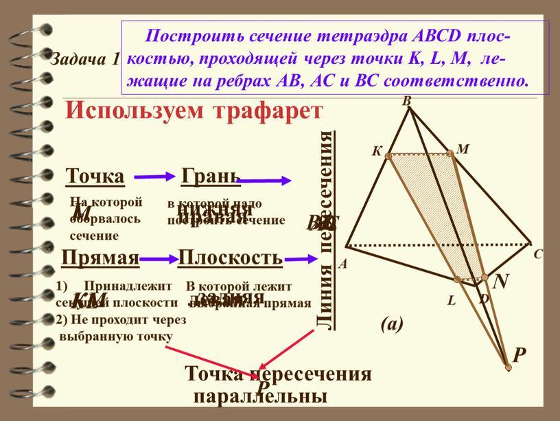 Задача 1 Построить сечение тетраэдра