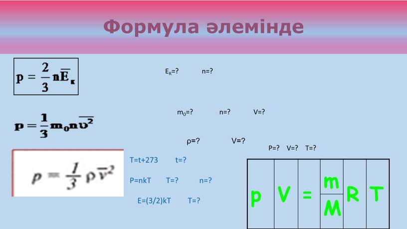 Формула әлемінде ЕК=? n=? m0=? n=?
