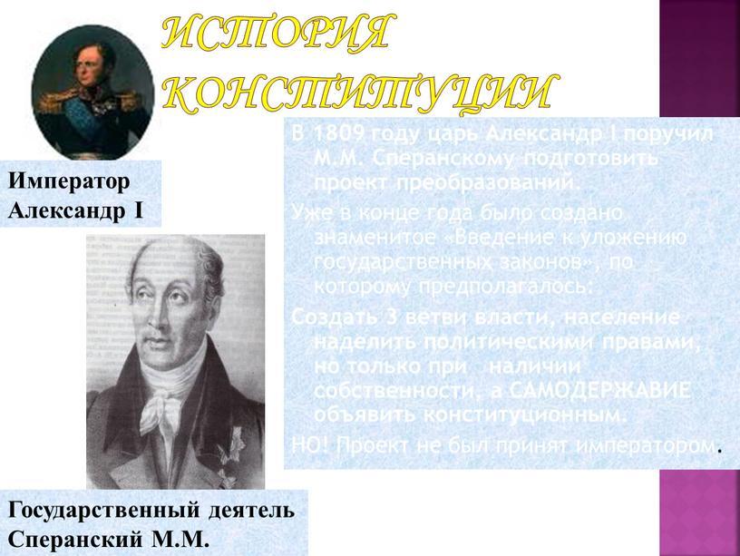 История Конституции В 1809 году царь