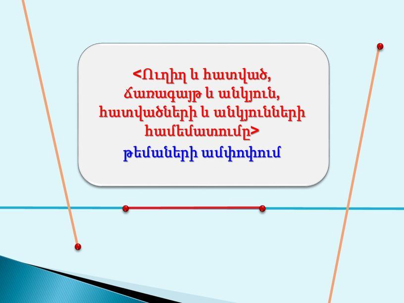 <Ուղիղ և հատված, ճառագայթ և անկյուն, հատվածների և անկյունների համեմատումը> թեմաների ամփոփում