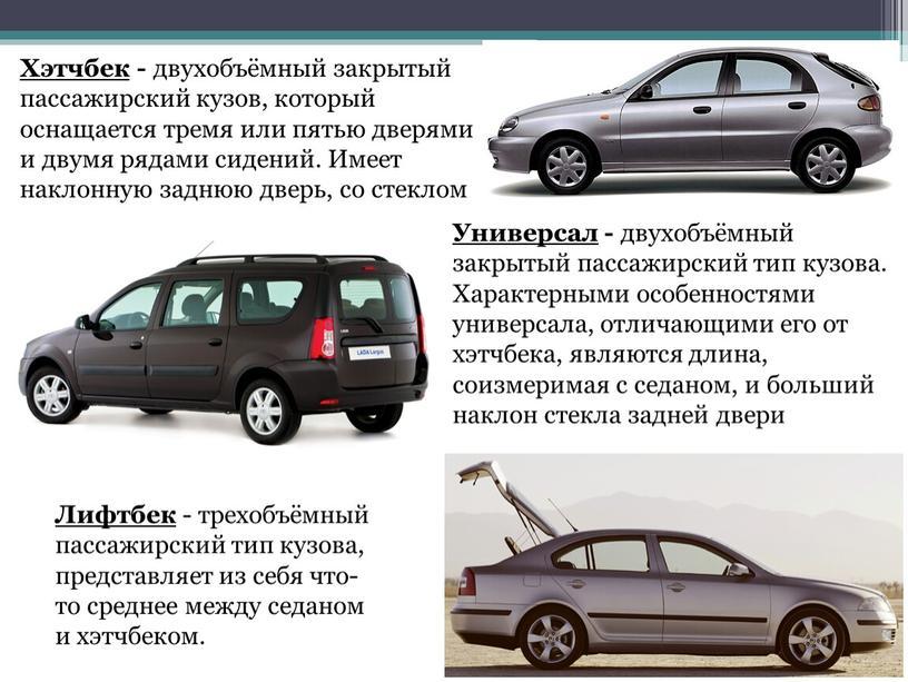 Хэтчбек - двухобъёмный закрытый пассажирский кузов, который оснащается тремя или пятью дверями и двумя рядами сидений