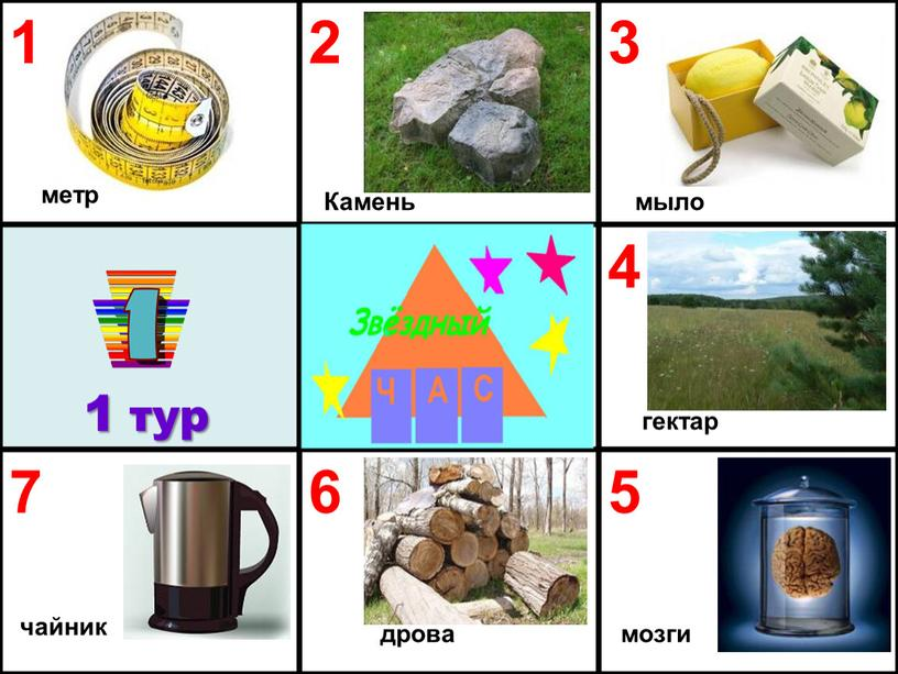 1 2 3 4 7 6 5 1 тур мозги мыло гектар дрова чайник метр Камень