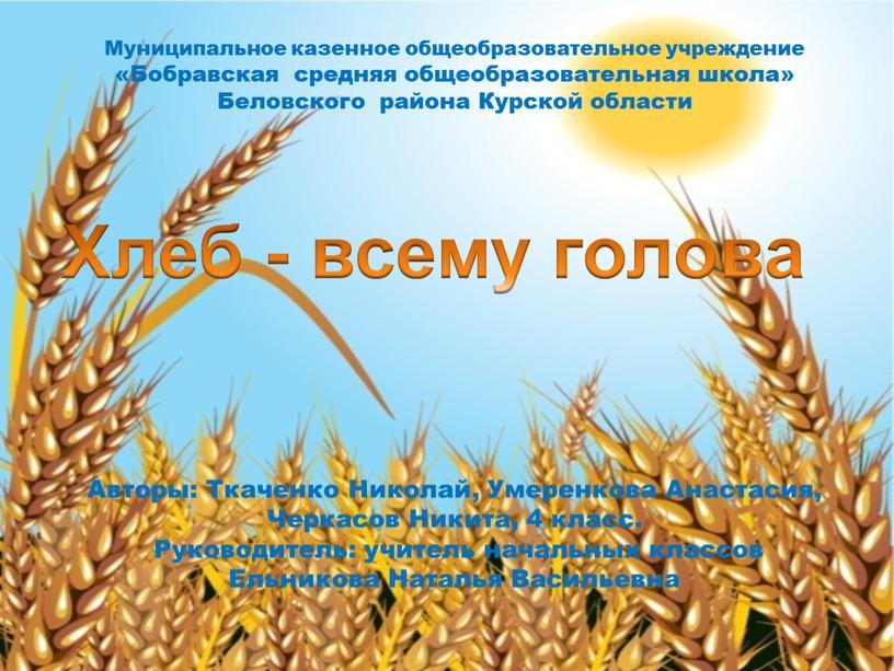 Муниципальное казенное общеобразовательное учреждение «Бобравская средняя общеобразовательная школа»