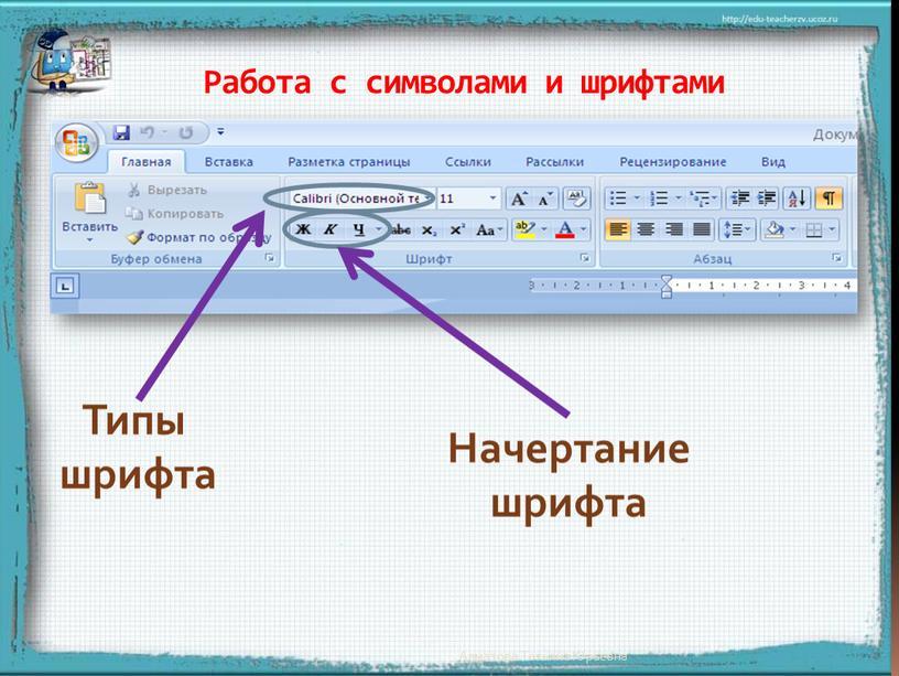 Типы шрифта Начертание шрифта