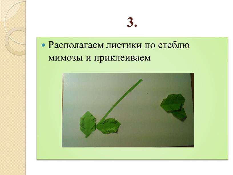 Располагаем листики по стеблю мимозы и приклеиваем