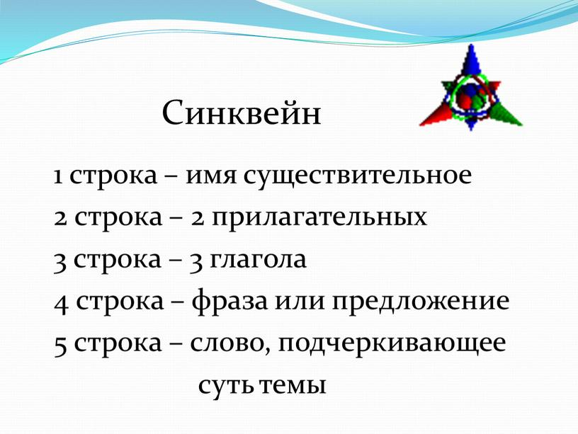 Синквейн 1 строка – имя существительное 2 строка – 2 прилагательных 3 строка – 3 глагола 4 строка – фраза или предложение 5 строка –…