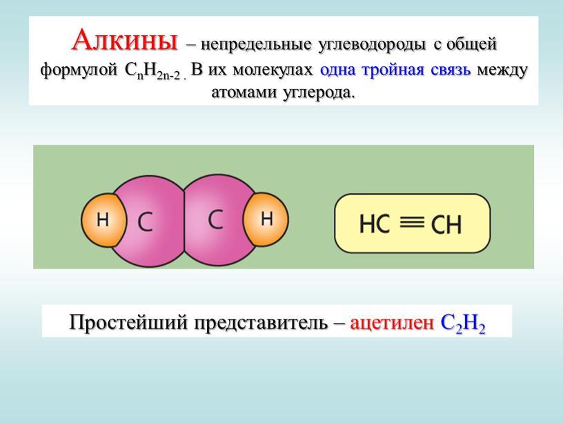 Алкины – непредельные углеводороды с общей формулой