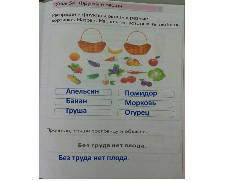 Апельсин Банан Груша Помидор Морковь