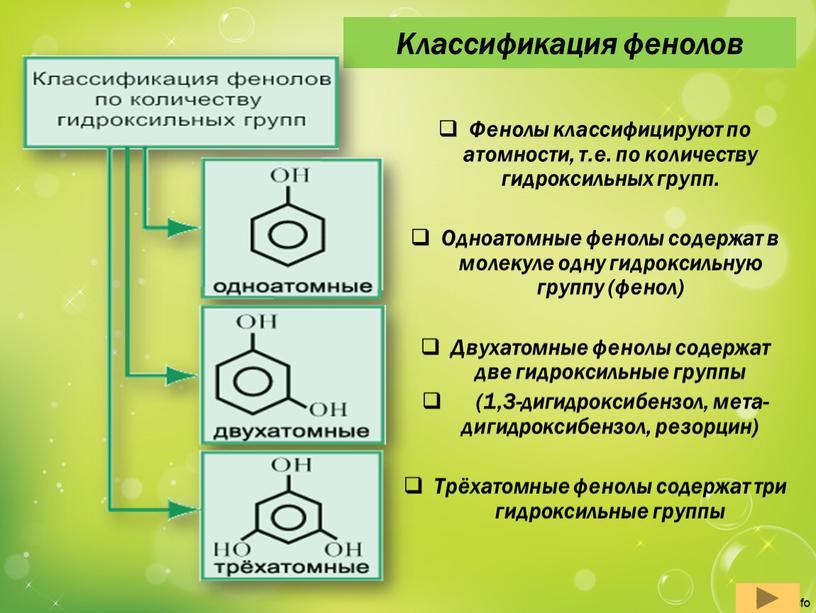 Классификация фенолов Фенолы классифицируют по атомности, т