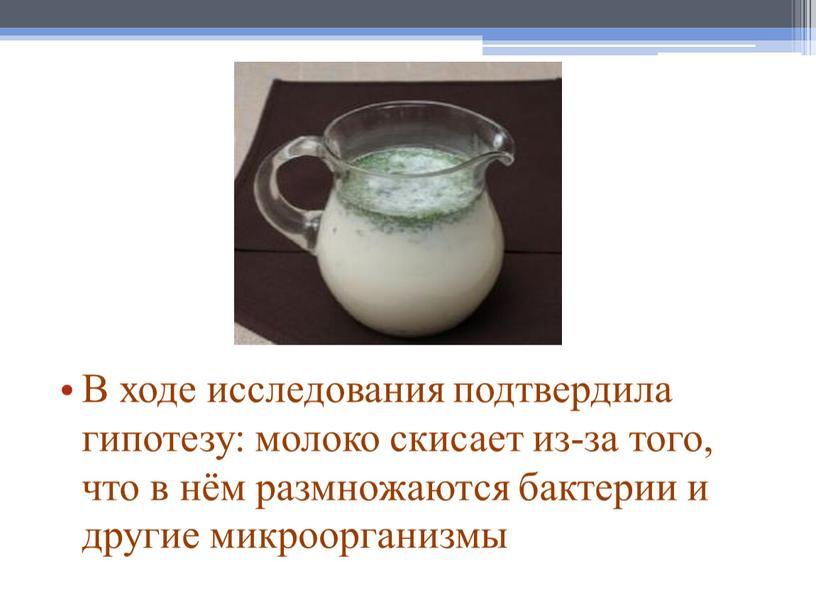 В ходе исследования подтвердила гипотезу: молоко скисает из-за того, что в нём размножаются бактерии и другие микроорганизмы