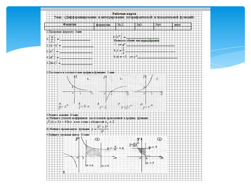 """Презентация к уроку по алгебре и началам анализа для 11 класса по теме: """"Дифференцирование и интегрирование показательной и логарифмической функций"""""""