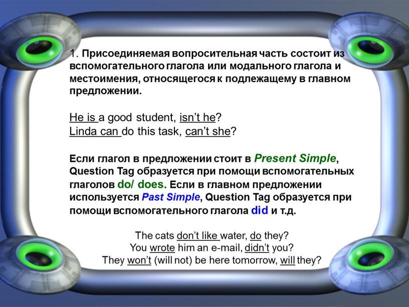 Присоединяемая вопросительная часть состоит из вспомогательного глагола или модального глагола и местоимения, относящегося к подлежащему в главном предложении