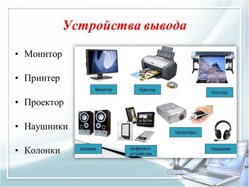 Устройства вывода Монитор Принтер