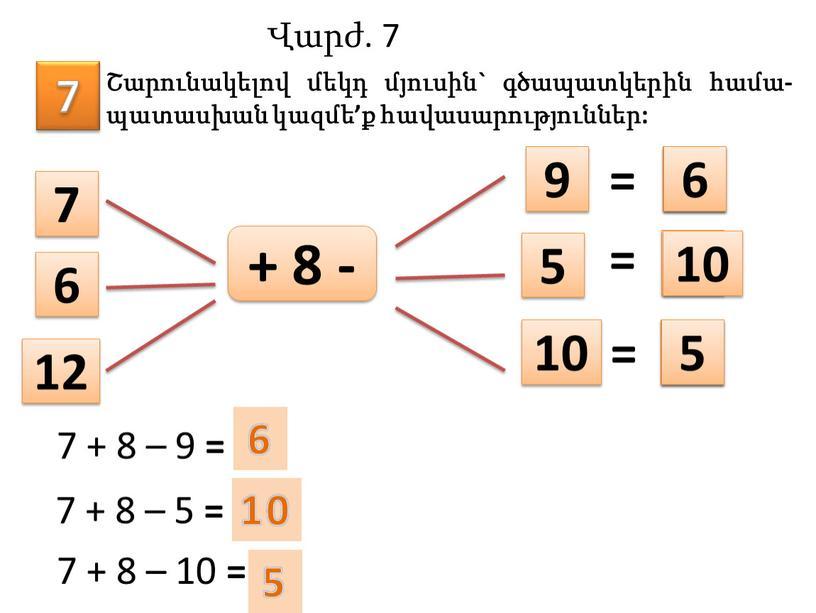7 Շարունակելով մեկդ մյուսին` գծապատկերին համա-պատասխան կազմե'ք հավասարություններ: 7 6 12 5 9 10 + 8 - = = = 7 + 8 – 9…