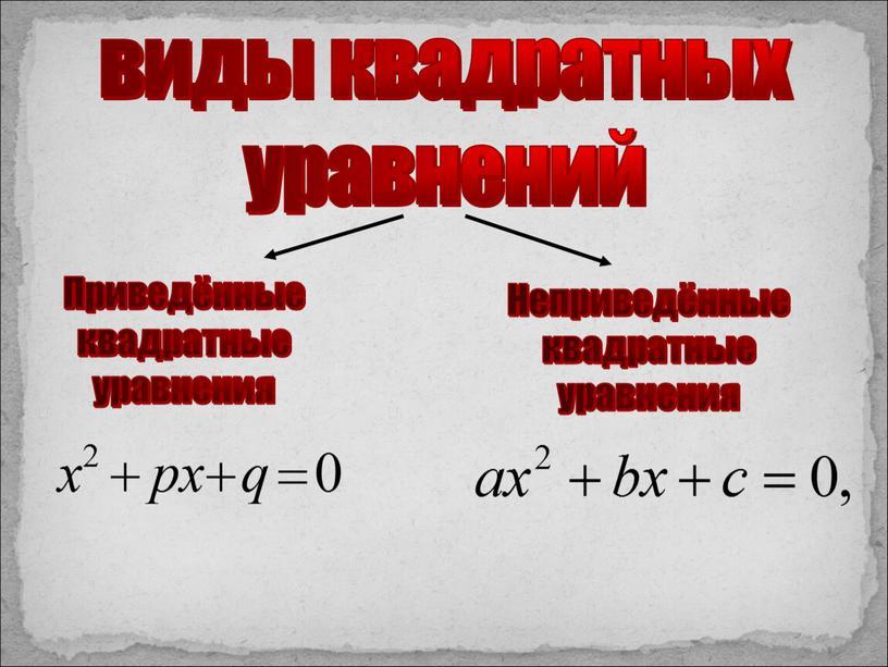 Приведённые квадратные уравнения