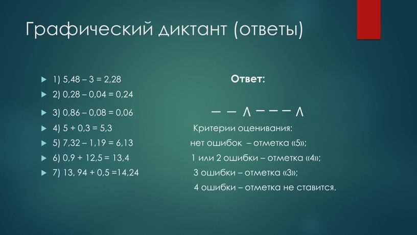 Графический диктант (ответы) 1) 5,48 – 3 = 2,28