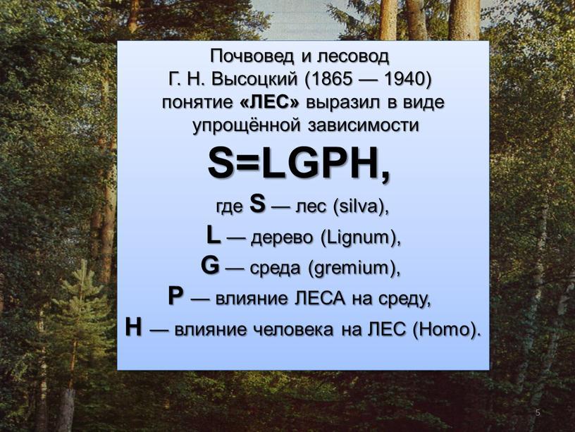 Почвовед и лесовод Г. Н. Высоцкий (1865 — 1940) понятие «ЛЕС» выразил в виде упрощённой зависимости