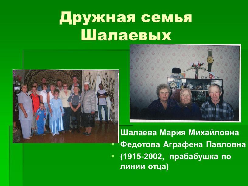 Дружная семья Шалаевых Шалаева