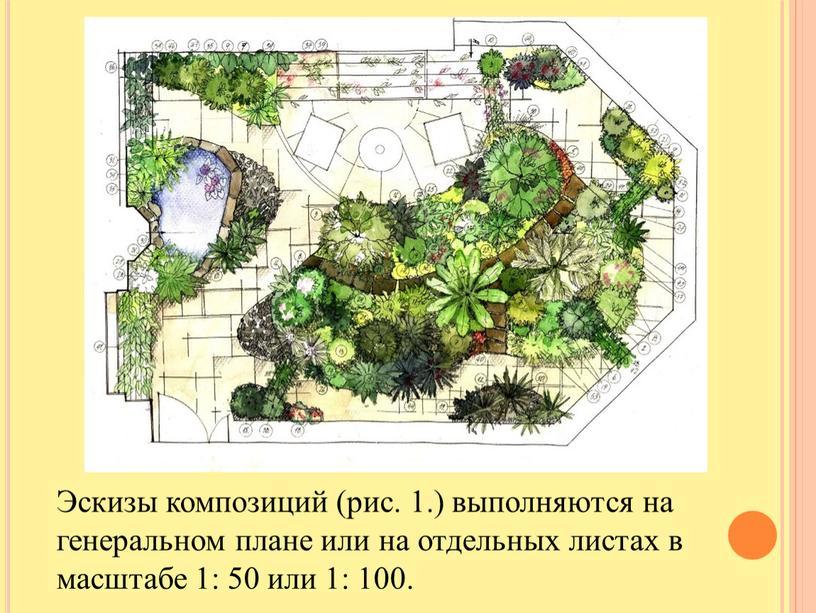 Эскизы композиций (рис. 1.) выполняются на генеральном плане или на отдельных листах в масштабе 1: 50 или 1: 100