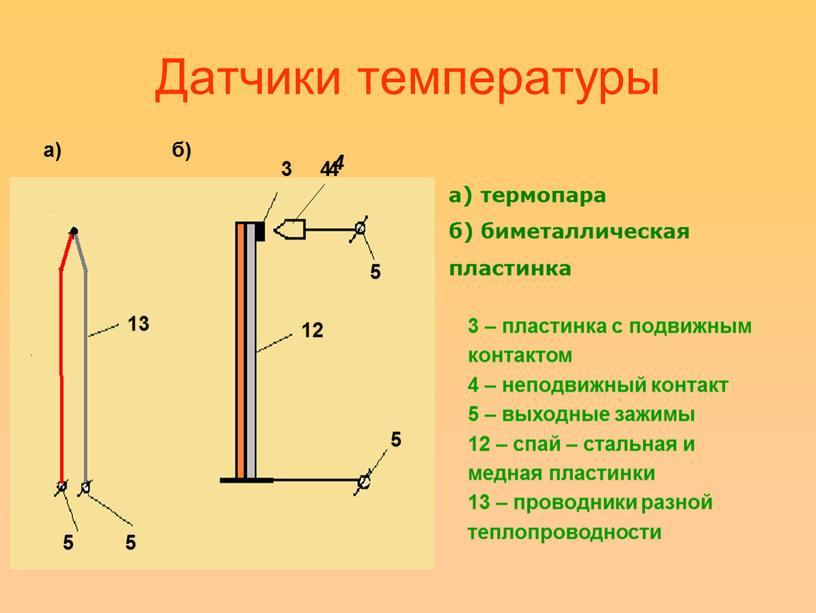 Датчики температуры 3 4 44 а) б) а) термопара б) биметаллическая пластинка 3 – пластинка с подвижным контактом 4 – неподвижный контакт 5 – выходные…