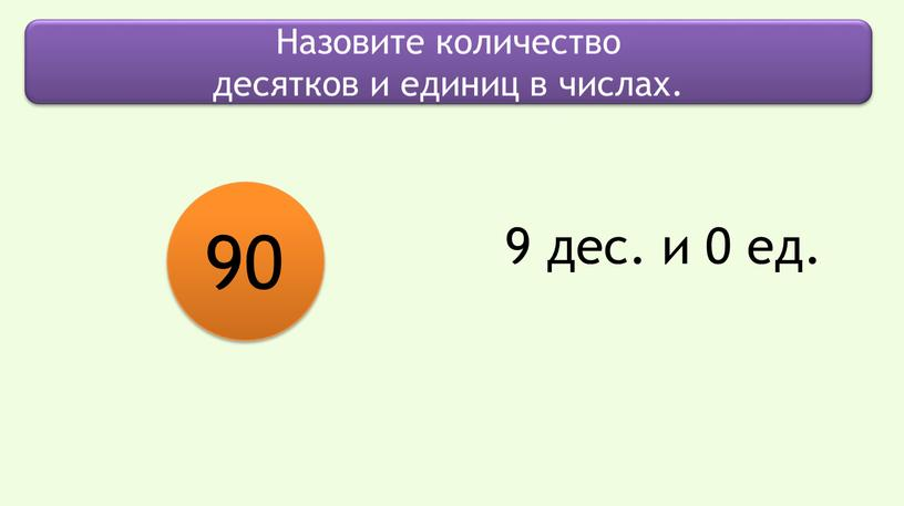 Назовите количество десятков и единиц в числах