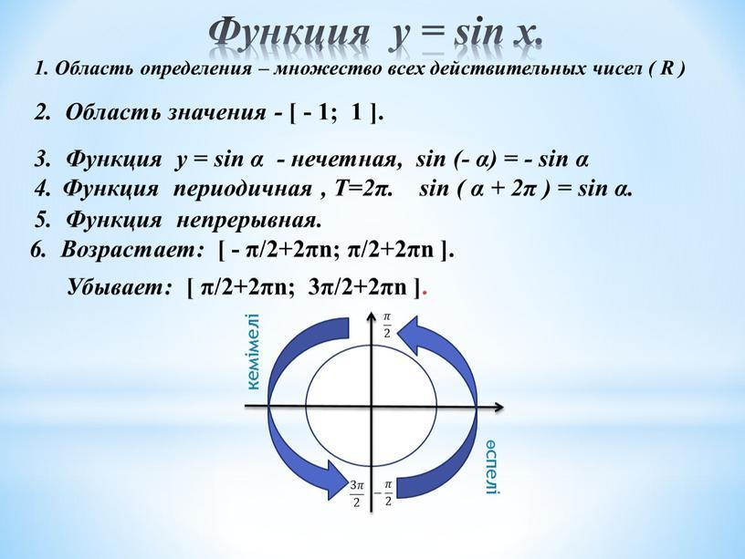 Функция у = sin x. 3. Функция у = sin α - нечетная, sin (- α) = - sin α 1