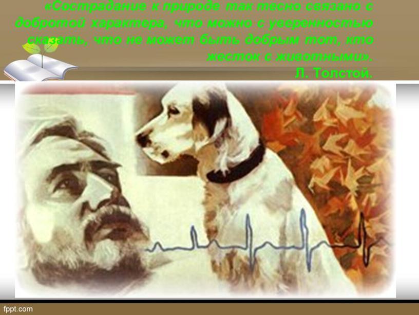 Сострадание к природе так тесно связано с добротой характера, что можно с уверенностью сказать, что не может быть добрым тот, кто жесток с животными»