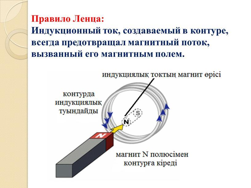 Правило Ленца: Индукционный ток, создаваемый в контуре, всегда предотвращал магнитный поток, вызванный его магнитным полем