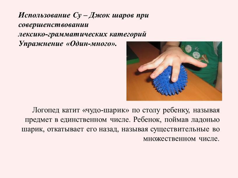 Использование Су – Джок шаров при совершенствовании лексико-грамматических категорий