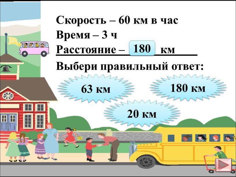 Скорость – 60 км в час Время – 3 ч