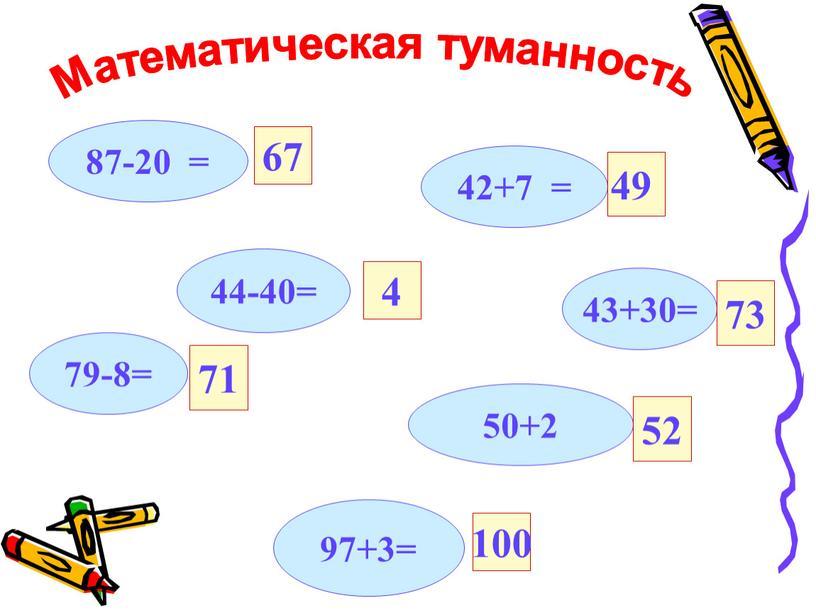87-20 = 42+7 = 43+30= 44-40= 50+2 97+3= 79-8= 67 71 49 4 73 52 100 Математическая туманность