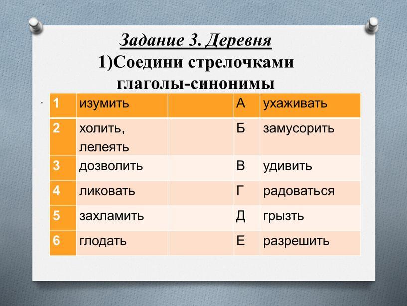 Задание 3. Деревня 1)Соедини стрелочками глаголы-синонимы 1 изумить
