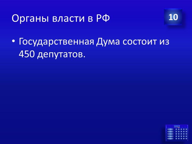 Органы власти в РФ Государственная
