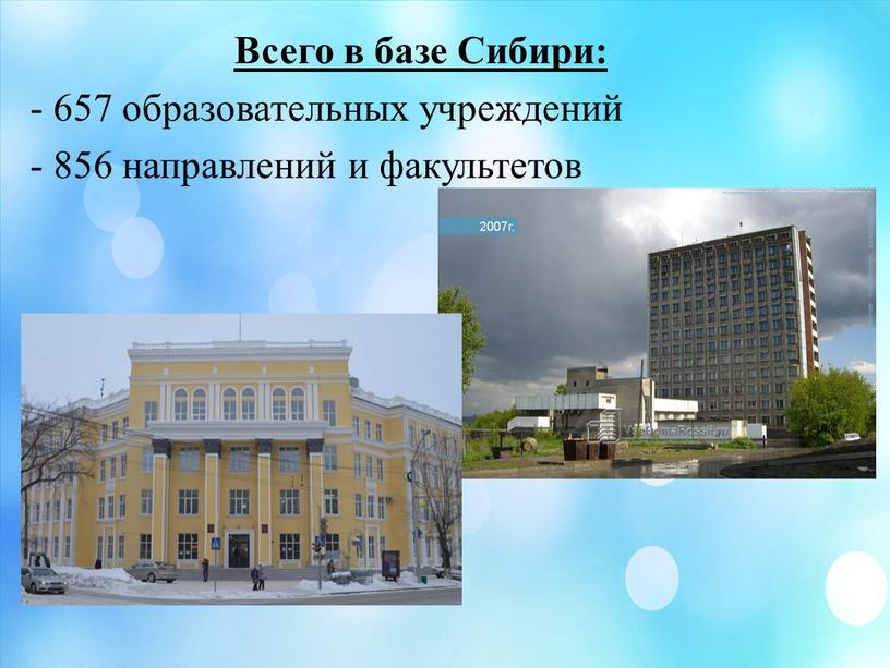Всего в базе Сибири: - 657 образовательных учреждений - 856 направлений и факультетов